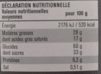 Tartelettes Caramel Chocolat au Lait - Nutrition facts