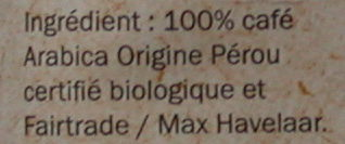 BIO Grains Pur ARABICA - Ingrédients - fr