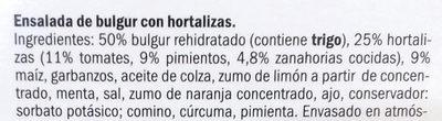 Ensalada Bulgur con hortalizas - Ingredientes