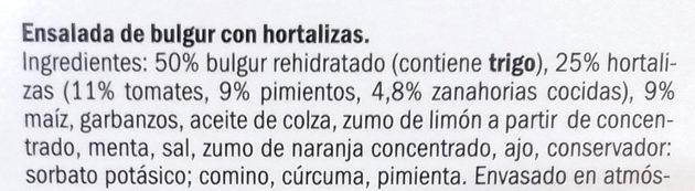 Ensalada bulgur con hortalizas - Ingredientes - es