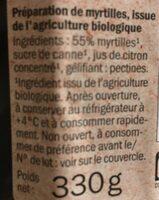 Bio myrtille - Ingrediënten