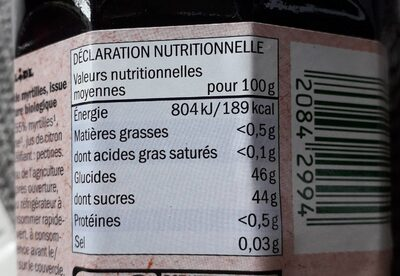 Préparation à la myrtille Bio - Valori nutrizionali - fr