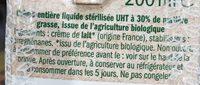 Bio Crème Liquide Entière - Ingredients