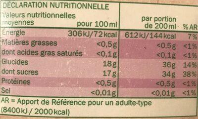 Pur jus de raisin bio - Voedingswaarden - fr