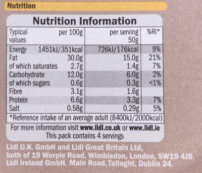 Classic Houmous - Informations nutritionnelles