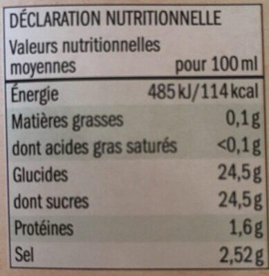 Bio Tomato Ketchup - Valori nutrizionali - fr