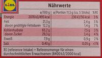 Schoko Sticks - Nährwertangaben - de