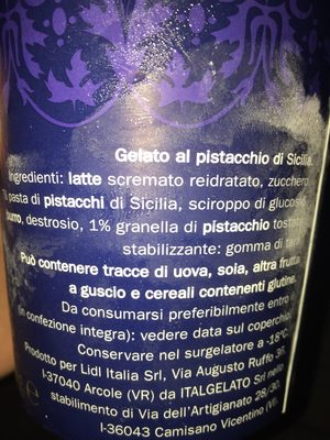 Gelato al pistachio - Ingredients