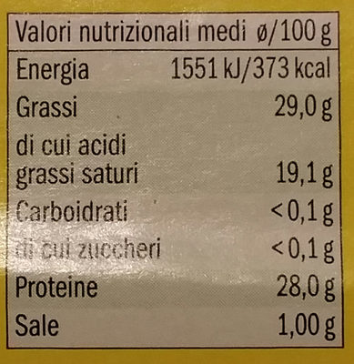 Emmental 9 fette - Nutrition facts