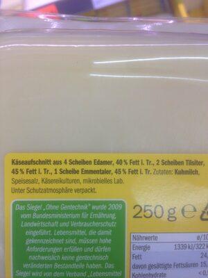 Käseaufschnitt - Inhaltsstoffe