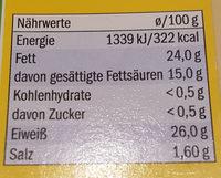 Käseaufschnitt - Nährwertangaben