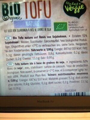 Bio Organic Tofu Nature - Ingrediënten - es