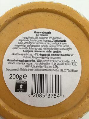 Pompoen Hummus hoemoes - Voedingswaarden