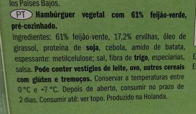 Hamburguer Vegano de Feijão-Verde - Ingrédients - pt