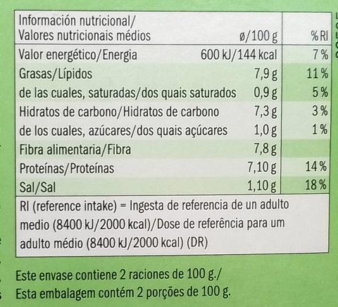 Hamburguesas veganas de judías verdes - Información nutricional
