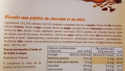 miel & pepites de chocolat - Ingrediënten