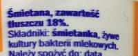 Śmietana 18% - Składniki