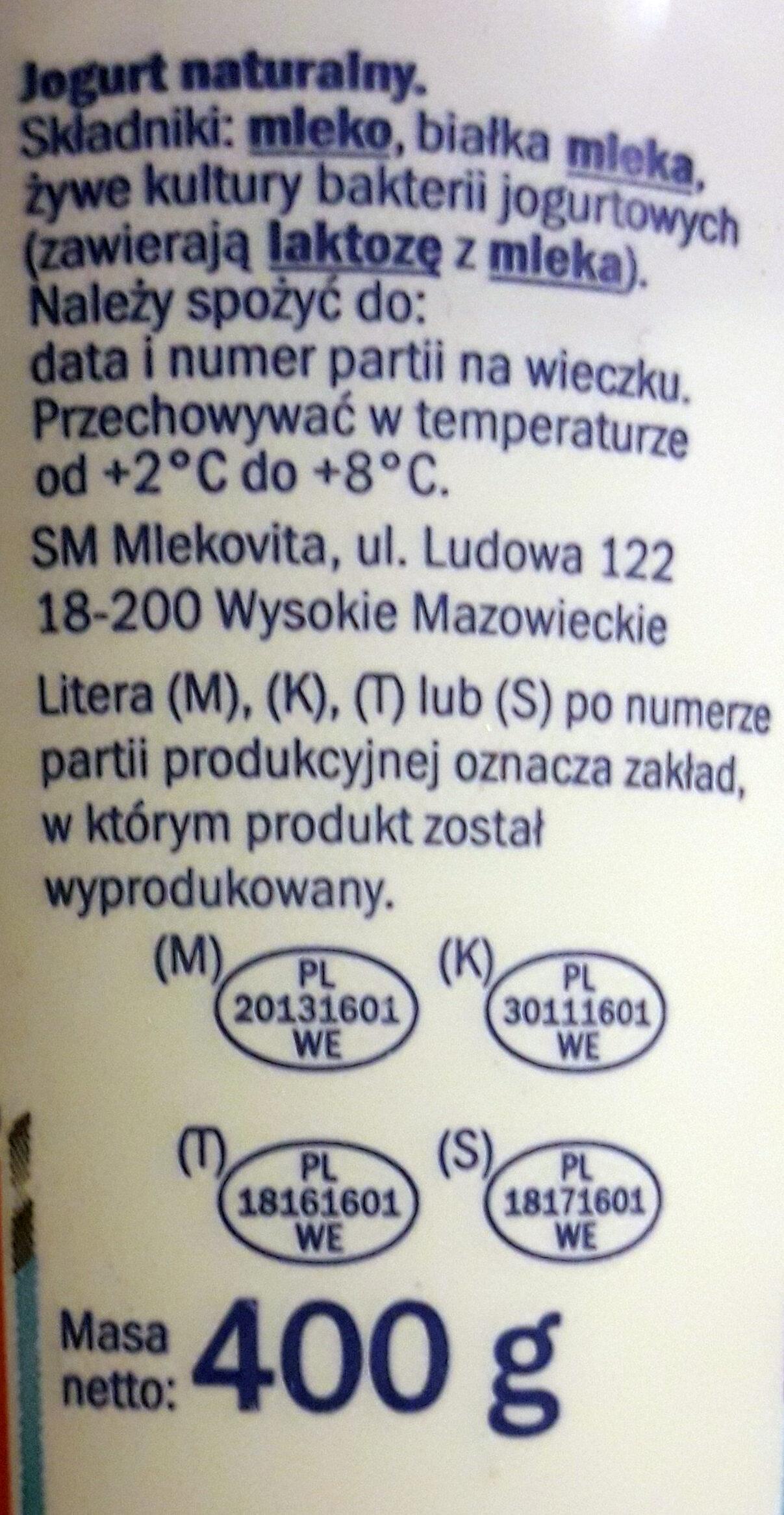 Jogurt naturalny kremowy - Składniki