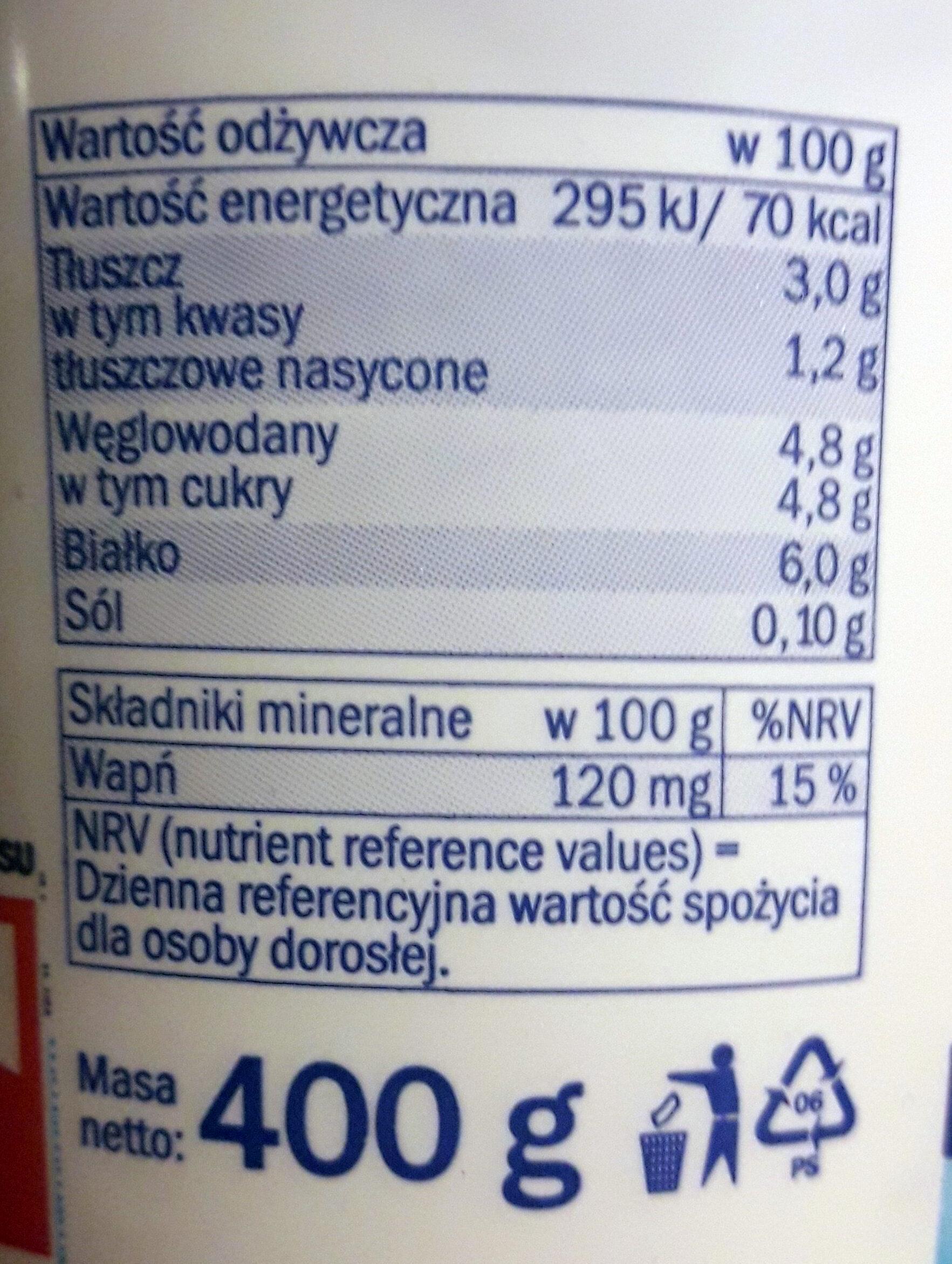 Jogurt naturalny kremowy - Wartości odżywcze
