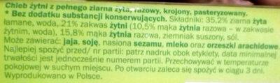 Chleb żytni z pełnego ziarna żyta, razowy - Składniki - pl