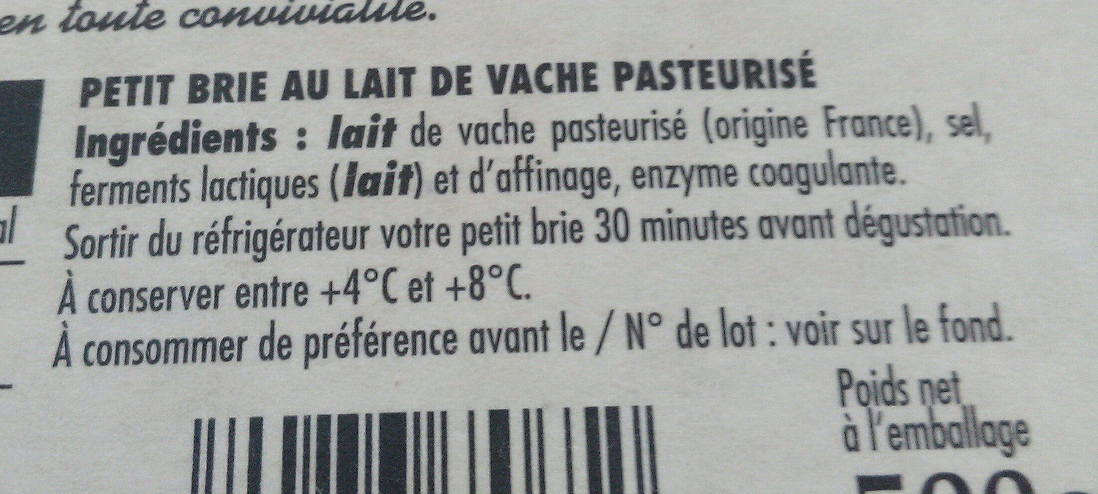 Petit brie - Ingrédients