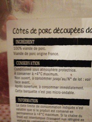 Cotes de Porc Échine - Ingredients - fr