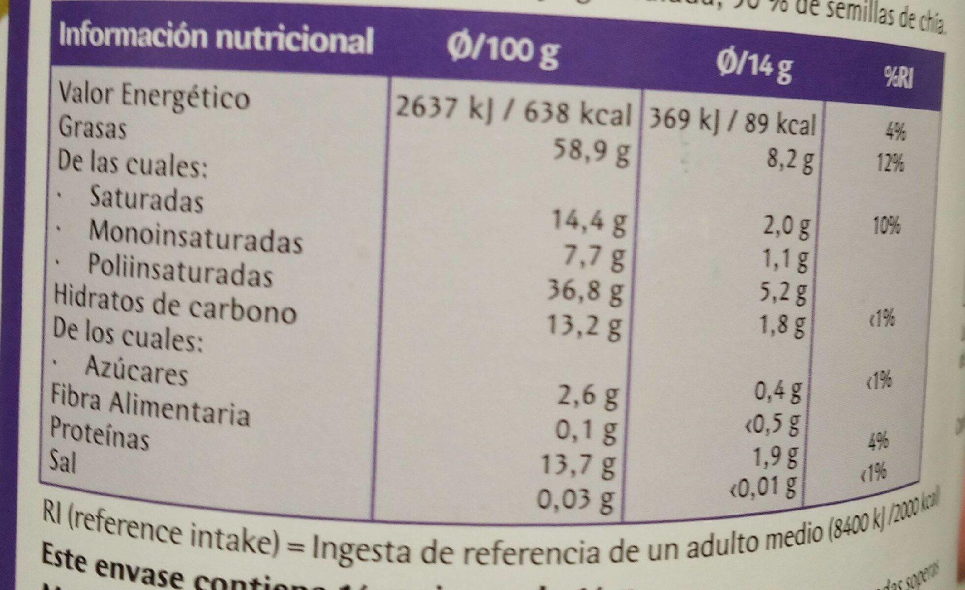 Lecitina de soja - Información nutricional