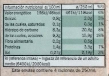 Bebida de avena - Información nutricional