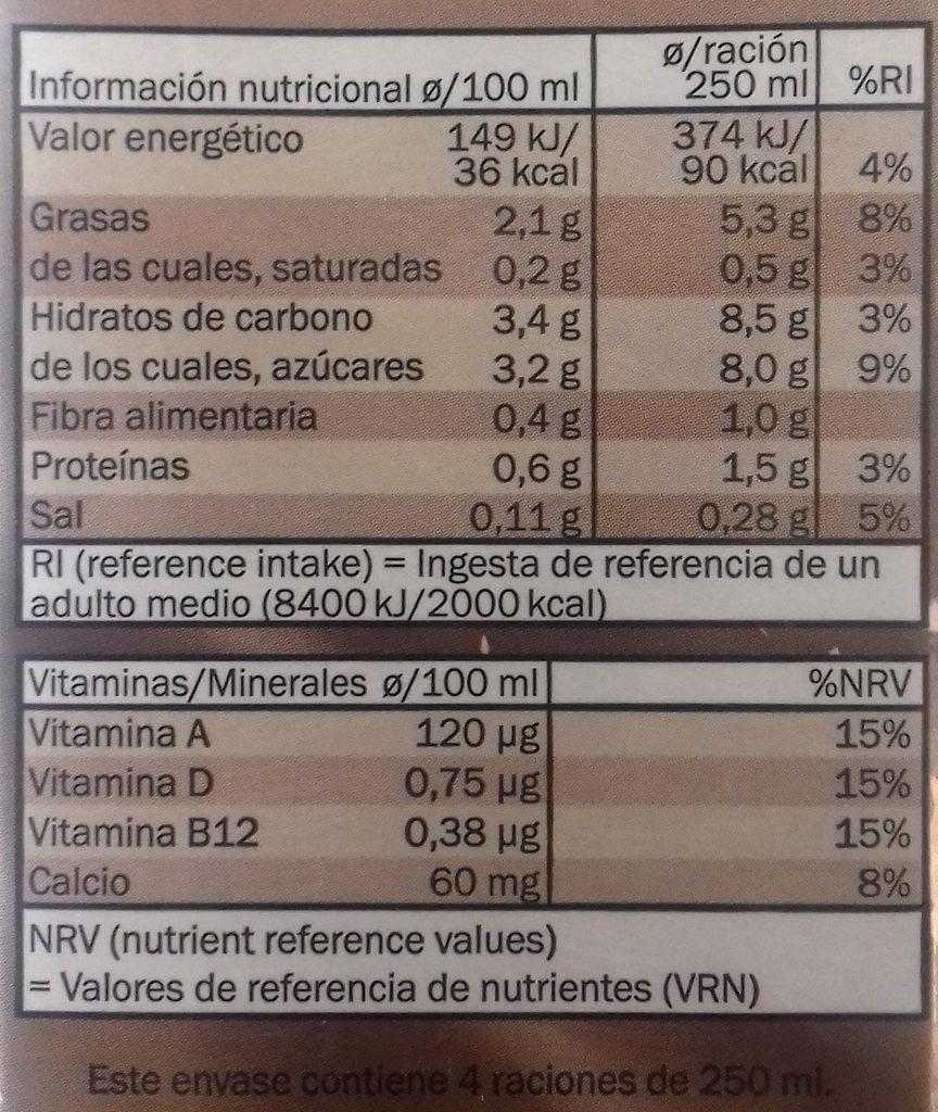 Bebida de avellanas - Información nutricional - es
