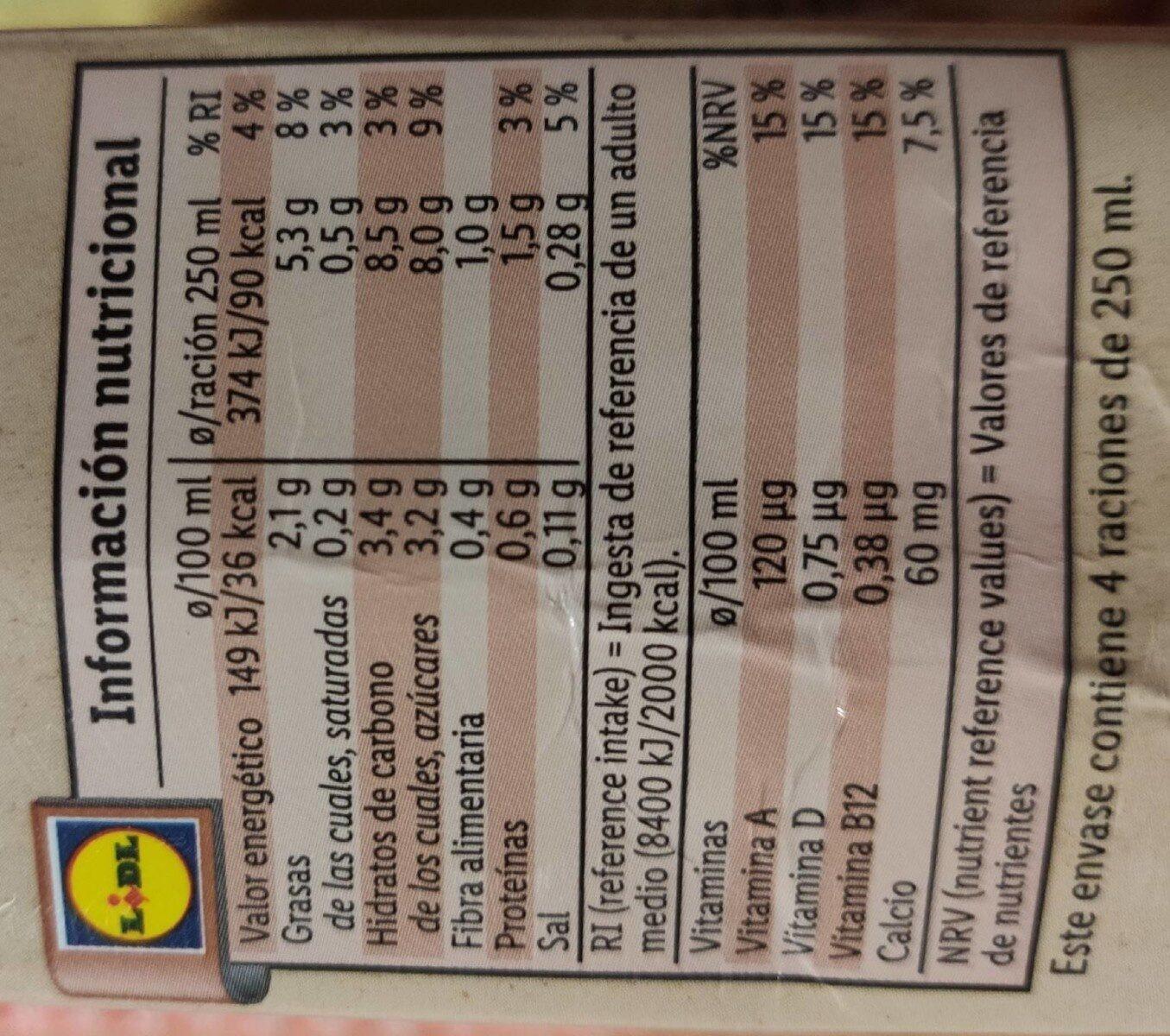 Hazelnuts Milk - Nutrition facts - es