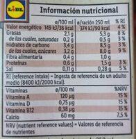 Bebida de avellanas 100% vegetal - Nutrition facts - es