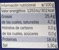 Sardinillas en aceite de oliva - Informació nutricional
