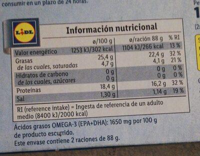 Sardinillas en aceite de oliva - Informations nutritionnelles - es