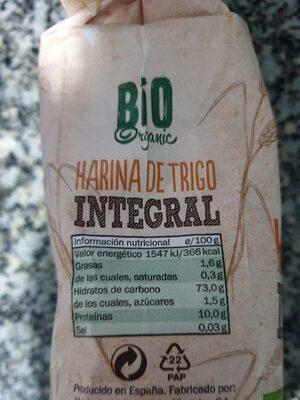 Harina de trigo integral - Voedigswaarden