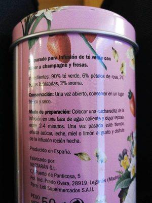 Te verde  con champagne - Información nutricional