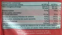 Smoothie mix Fresas, plátano y arándanos - Información nutricional