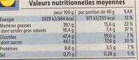 Lait amandes caramélisées - Informations nutritionnelles - de