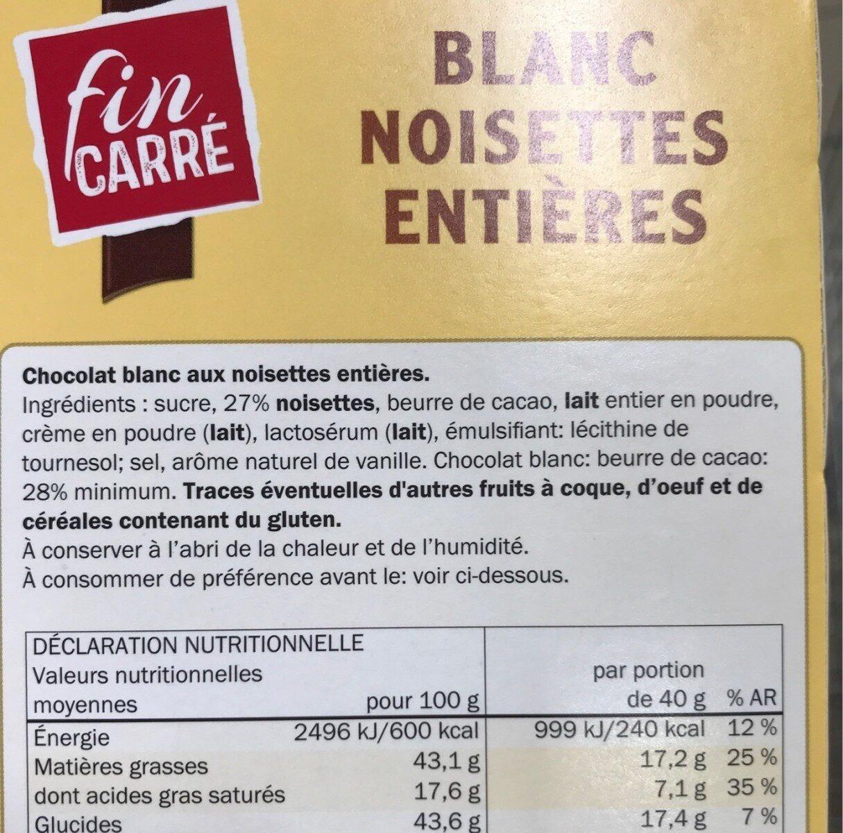 Blanc noisette entières - Informations nutritionnelles - fr