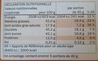 Fin carré Blanc Amandes entières - Nutrition facts - de