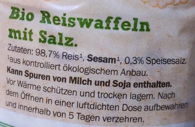 Bio Reiswaffeln mit Salz - Ingrédients - de