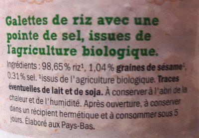 Bio galettes de riz - Ingredients