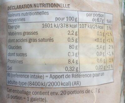 Bio galettes  de riz - Nährwertangaben - fr