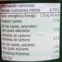 Bifidus 0% con melocotón - Voedingswaarden - en