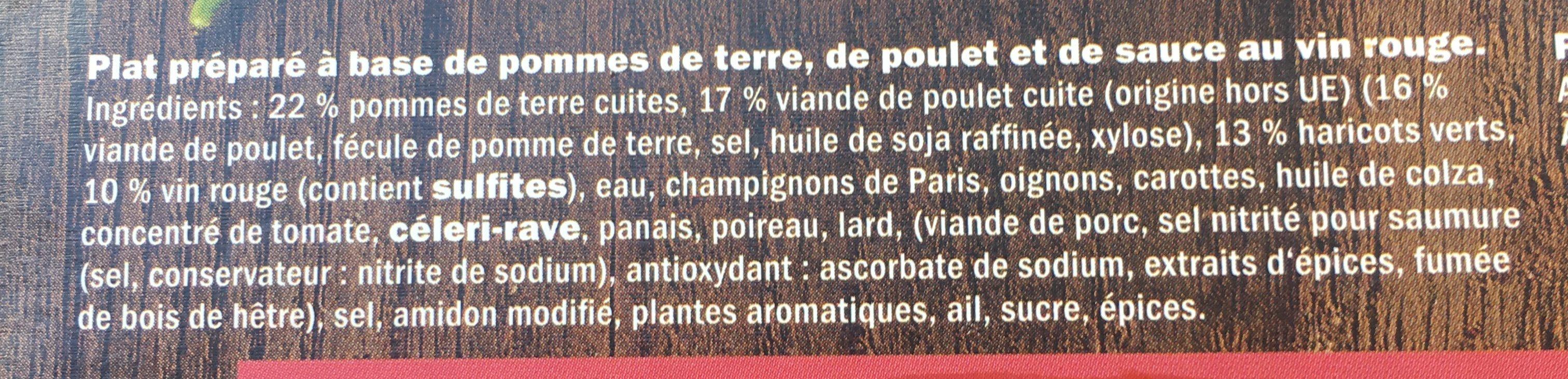 Coq au vin - Ingrédients