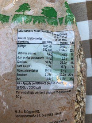 BioMuesli Multicéréales - Informations nutritionnelles - fr