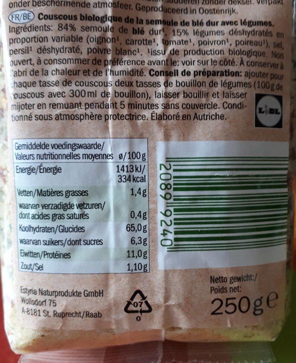 Couscous bio avec légumes - Voedingswaarden - fr
