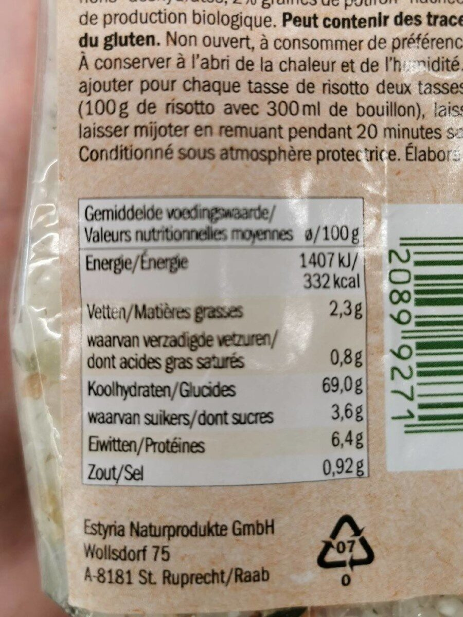 Risotto avec potiron - Voedingswaarden - fr