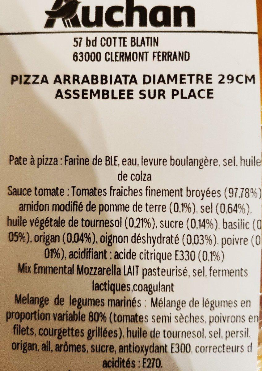 Pizza Arrabbiata diam. 29 cm - Ingrédients