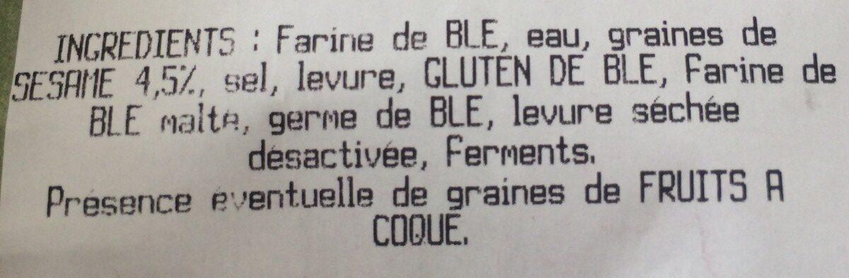 Baguette au Sésame - Ingredienti - fr