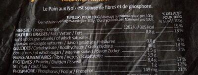 Pain aux noix bio - Informations nutritionnelles - fr